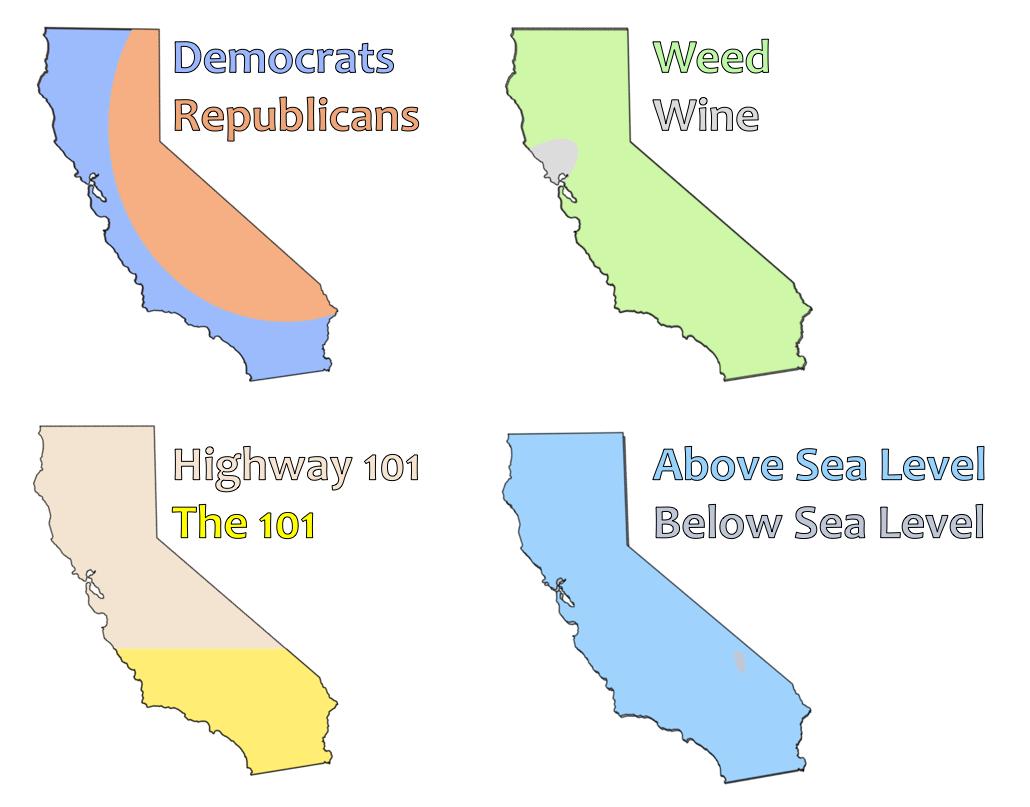 4 Ways To Divide California (Oc) : Bayarea - Divide California Map