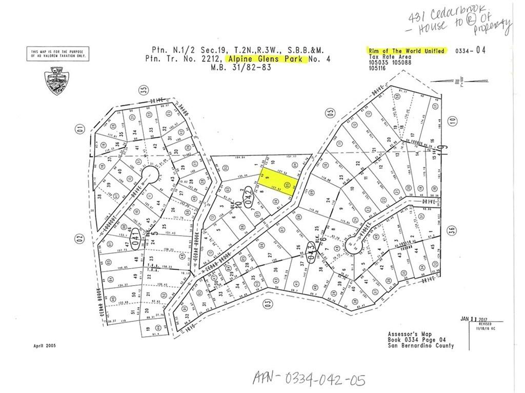 5 Cedarbrook Dr, Twin Peaks, Ca 92391 - Lot/land - Mls - Twin Peaks California Map