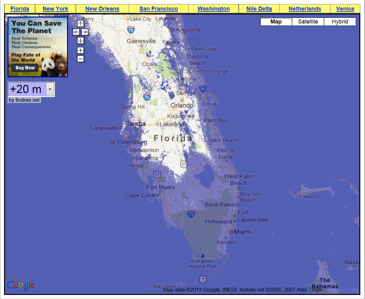 69 Feet Of Sea Level Rise – Getting A Grip On The Magnitude Of The - Map Of Florida After Sea Level Rise