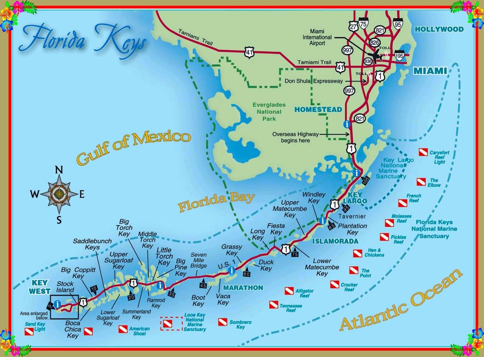 $8.79 - Map Of The Florida Keys United States America Travel - Florida Keys Map Poster