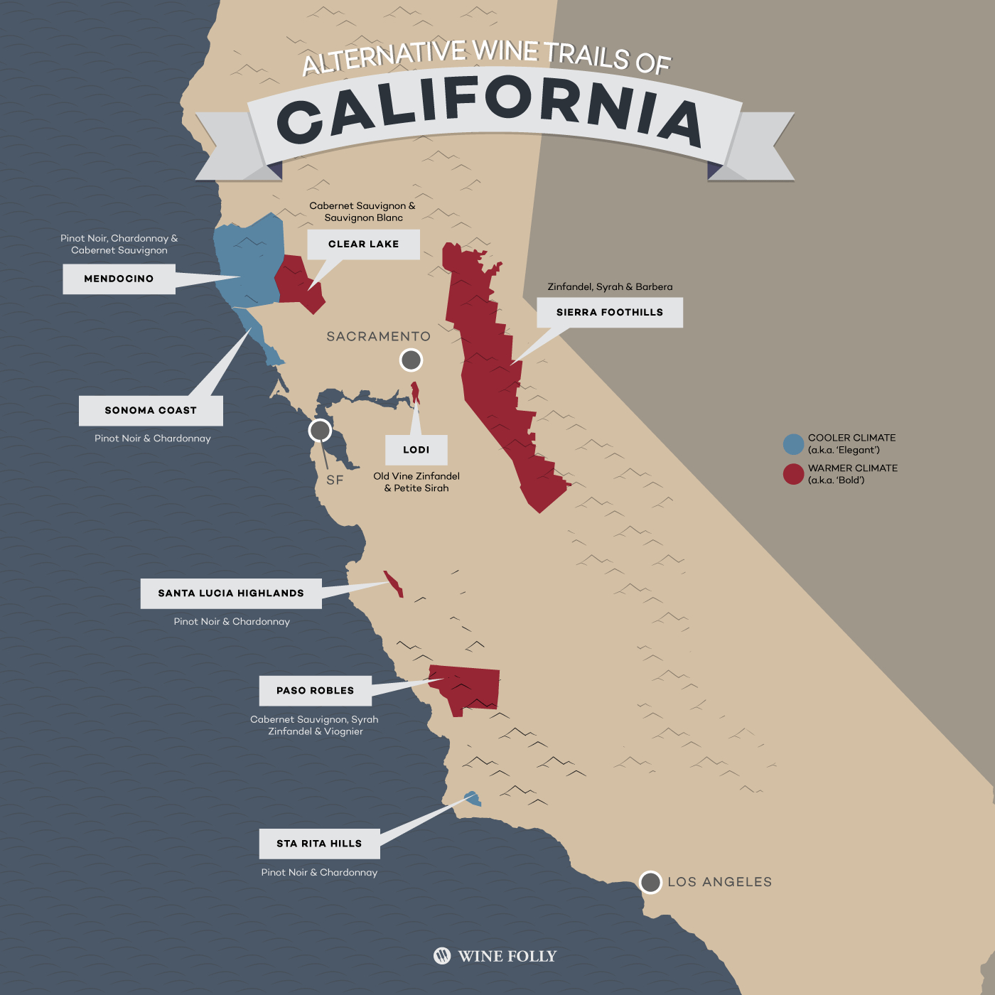 8 Alternative Wine Trails Of California | Wine Folly - California Wine Map