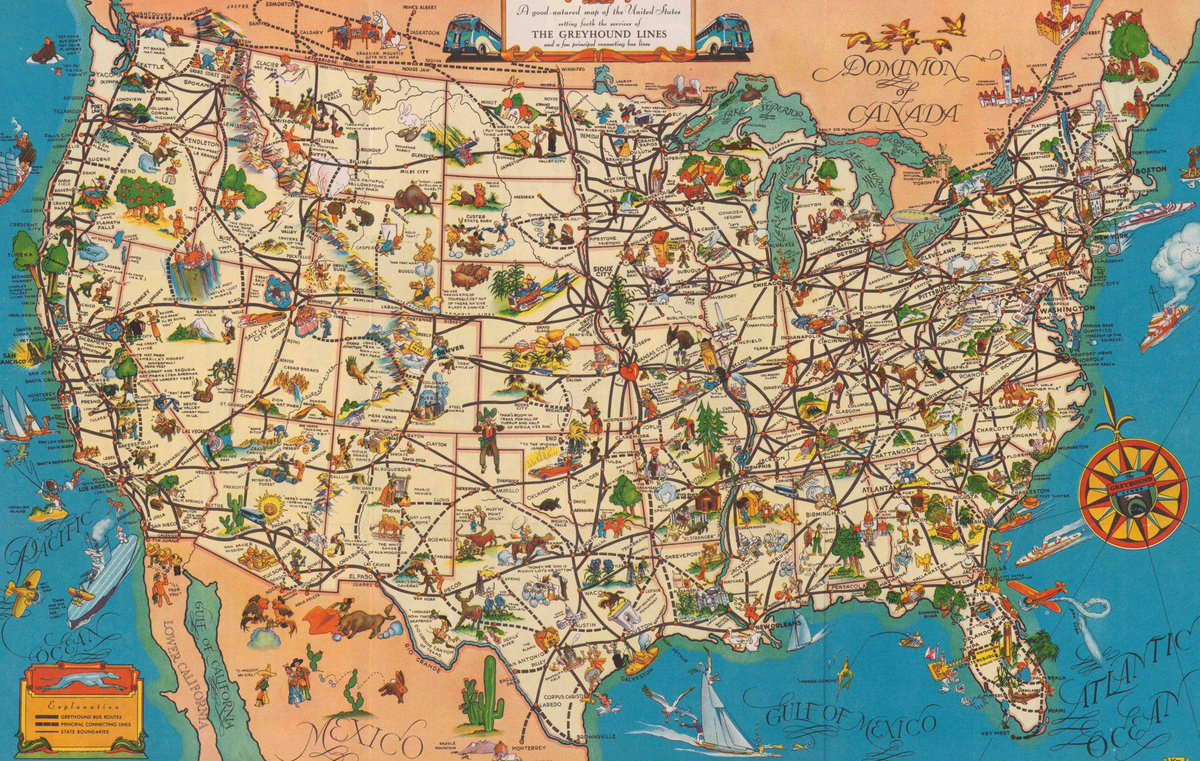 A 1935 'good-Natured Map' Of Greyhound Bus Routes. (Image: Cornell - Greyhound Map California