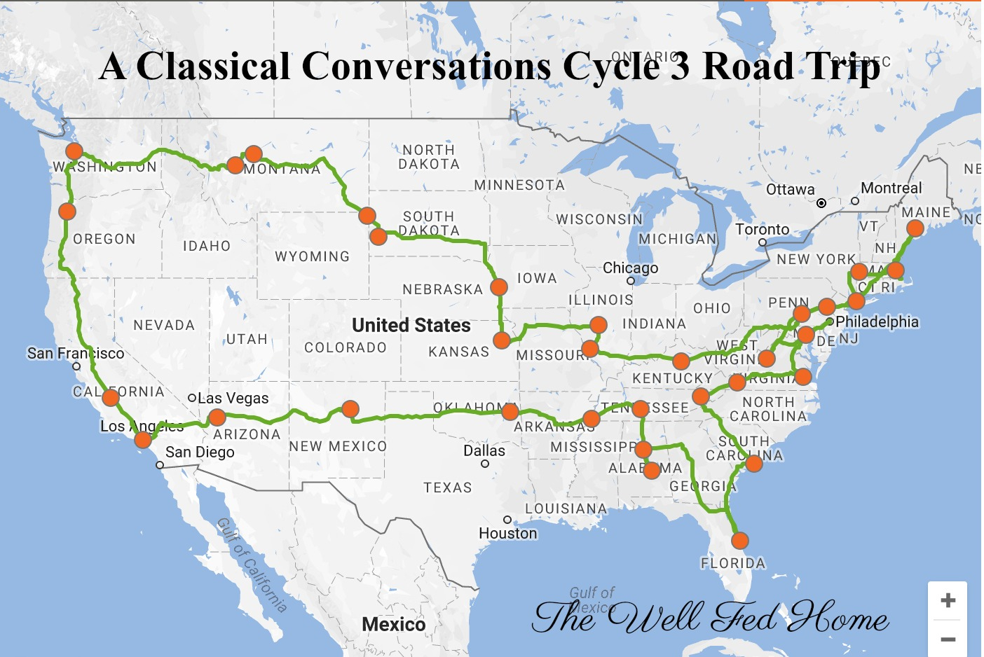 A Classical Conversations Cycle 3 Foundations Road Trip! - Wisconsin To Florida Road Trip Map