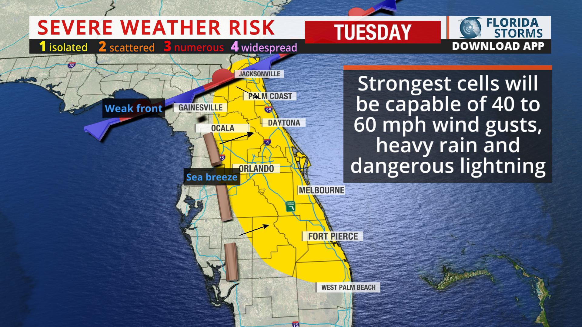 A Few Severe Storms Possible Today In East Florida - Florida Storms - Seabreeze Florida Map