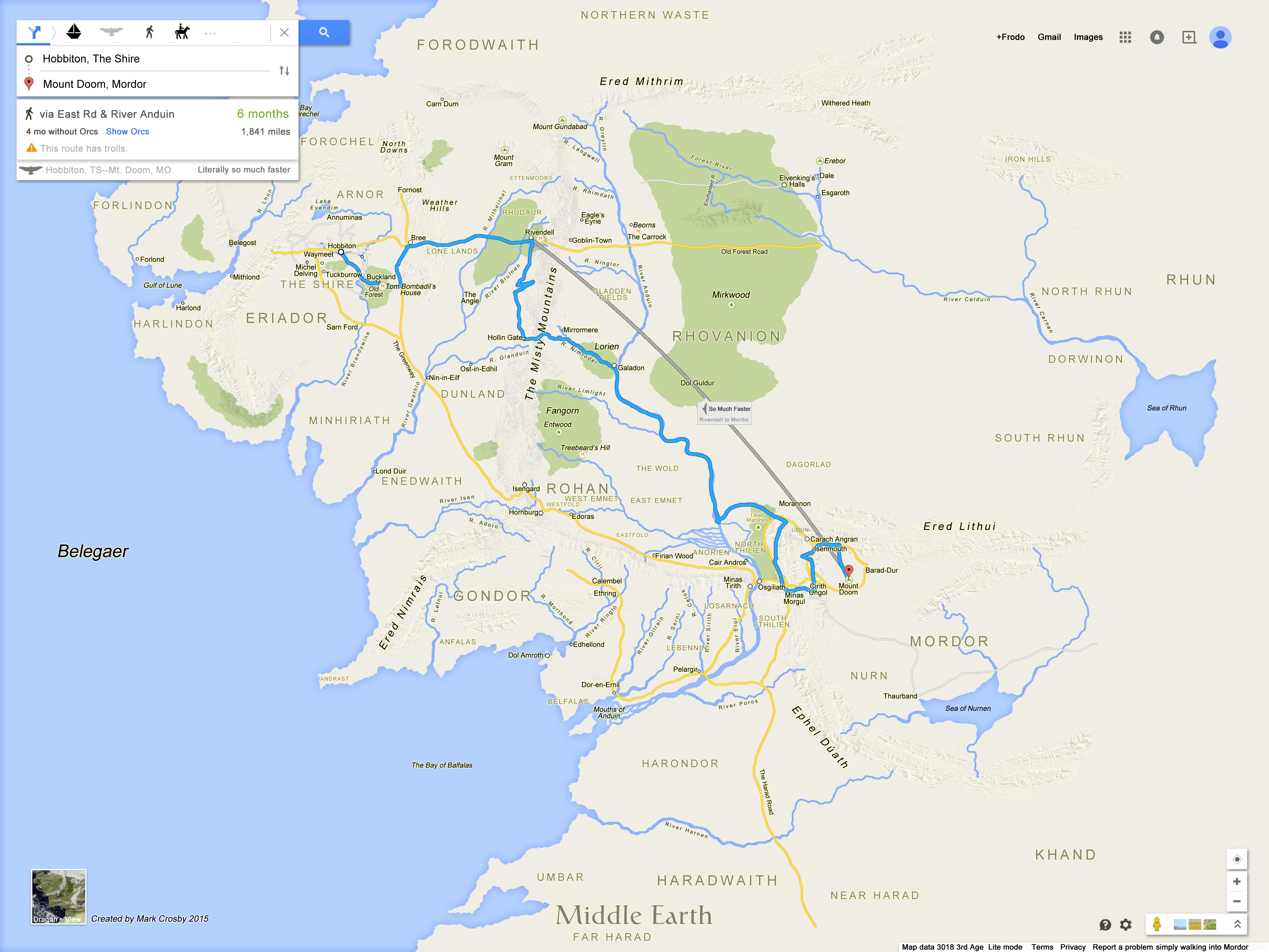 A Google Maps-Style Mockup Of Middle-Earth From Lord Of The Rings - Google Maps Texas Directions