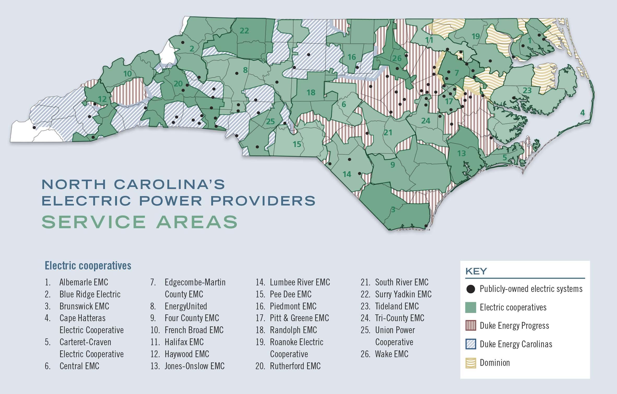 A Guide To North Carolina's Electric Power Providers - Carolina Country - Florida City Gas Service Area Map