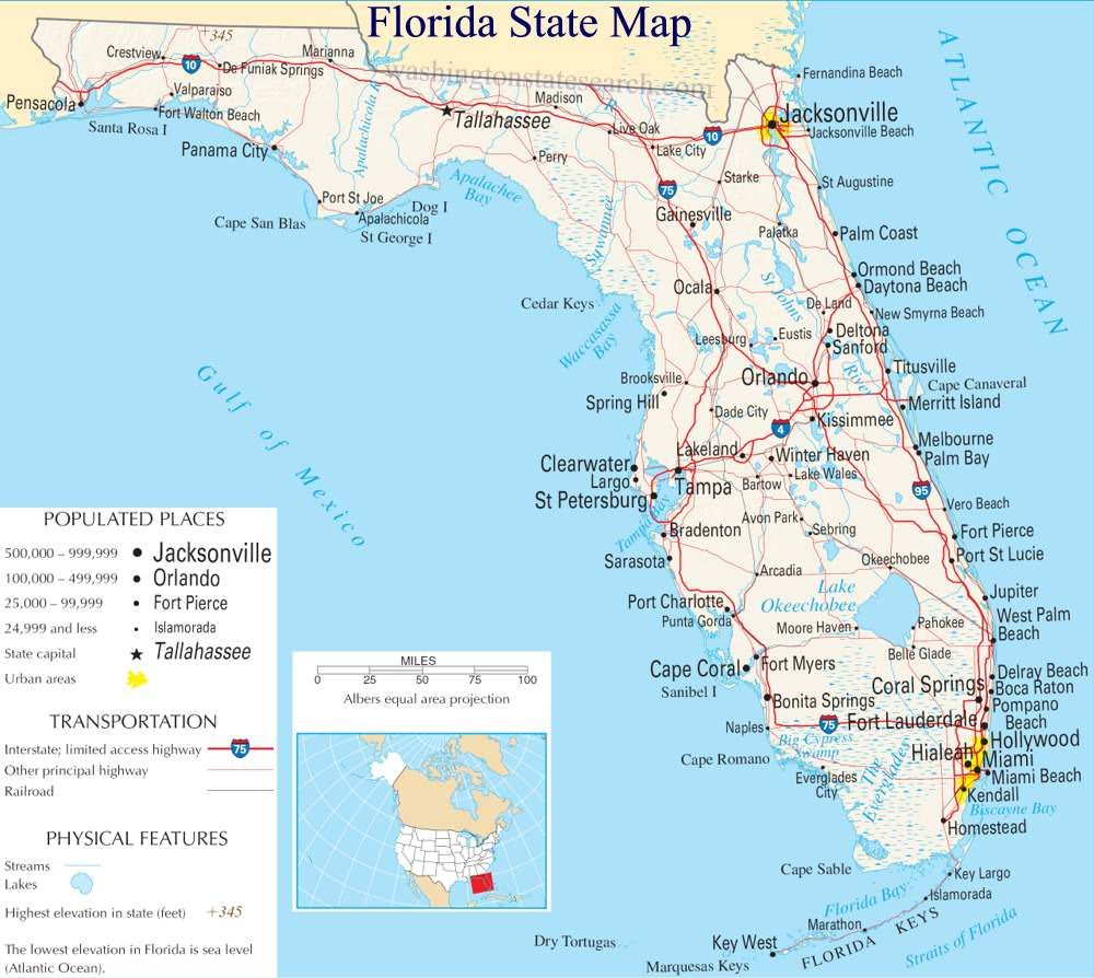 A Large Detailed Map Of Florida State | For The Classroom | Florida - Map Of South Gulf Cove Florida