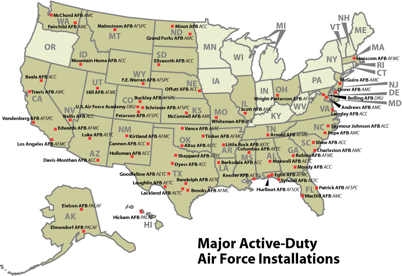 A Map Of All Us Military Bases Air Force Facilities United States - Map Of Army Bases In California