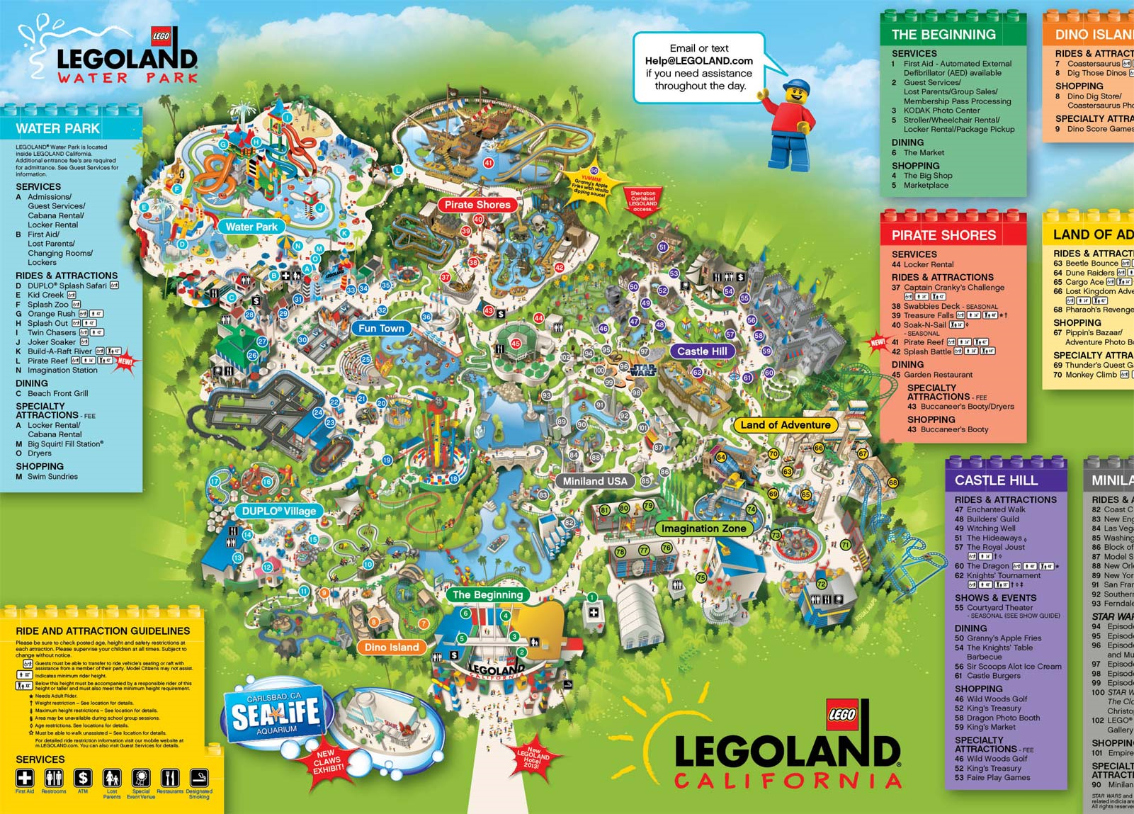A Map Of Legoland California | Legoland California Resort; Carlsbad - Legoland California Water Park Map