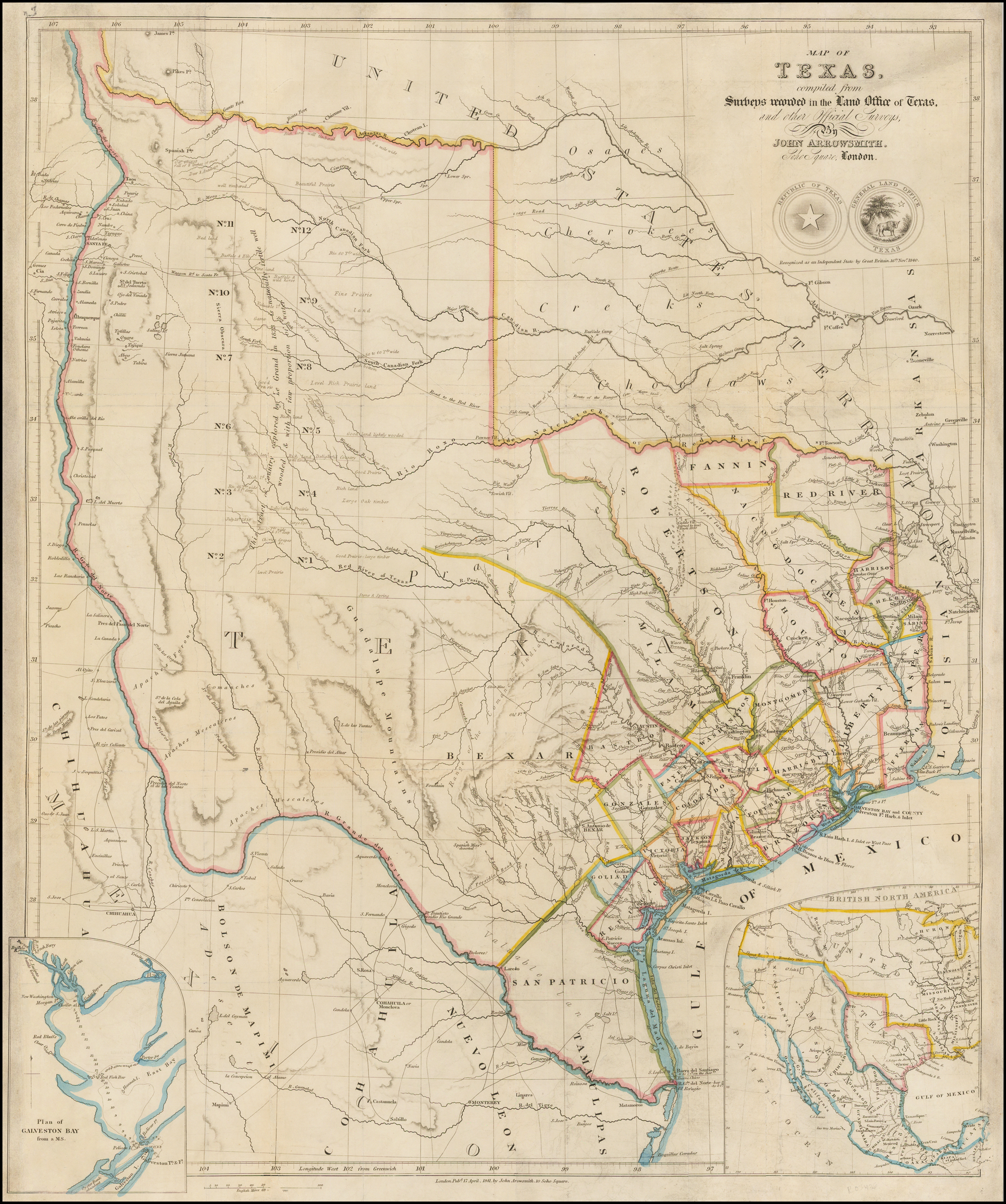 A Map Of Texas, Compiled From Surveys Recorded In The Land Office Of - Texas Land Office Maps