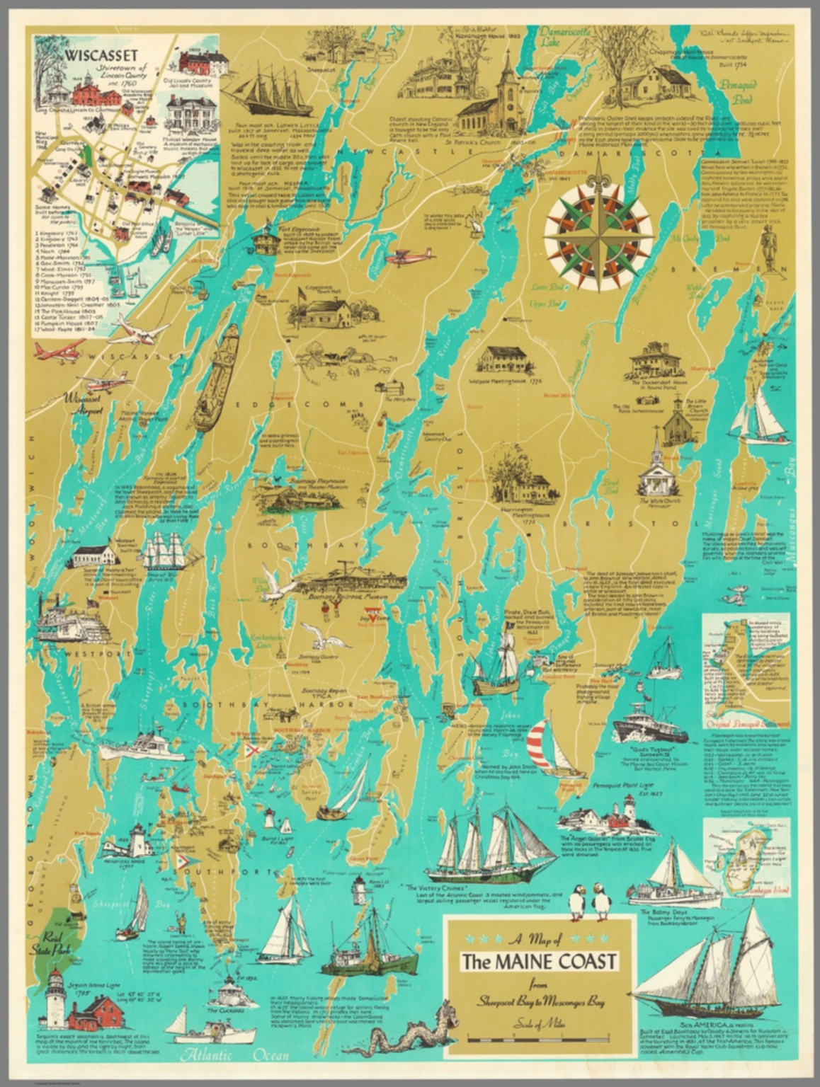 A Map Of The Maine Coast From Sheepscot Bay To Muscongus Bay - Printable Map Of Maine Coast