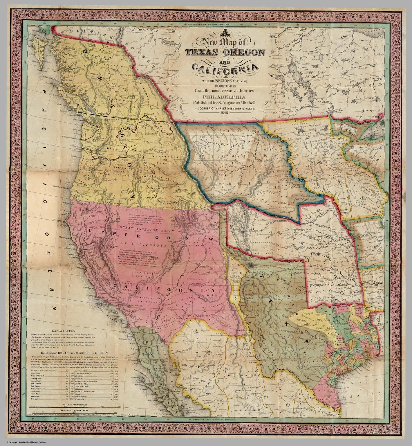 A New Map Of Texas Oregon And California With The Regions Adjoining - Texas Map 1846