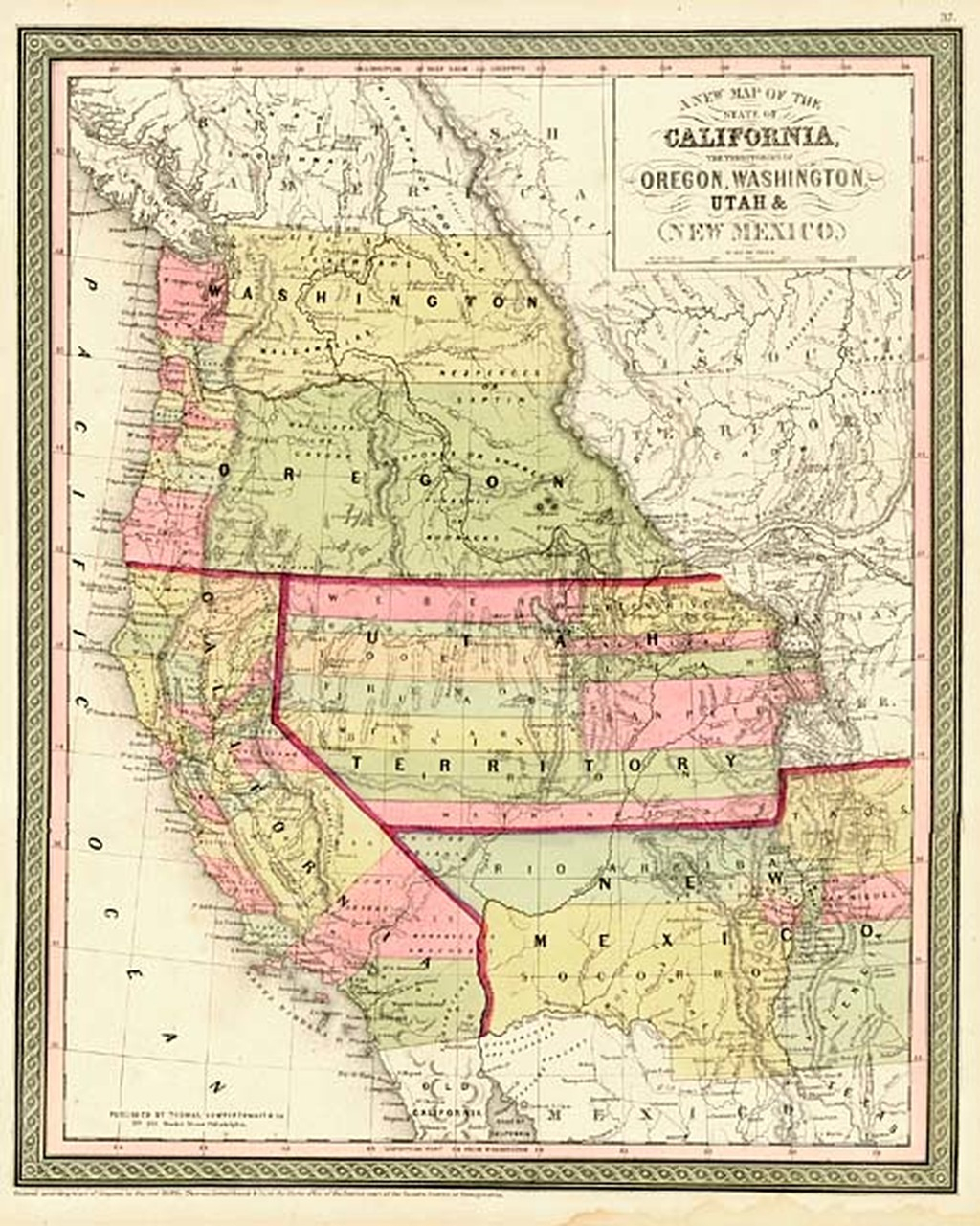 A New Map Of The State Of California, The Territories Of Oregon - California Oregon Border Map