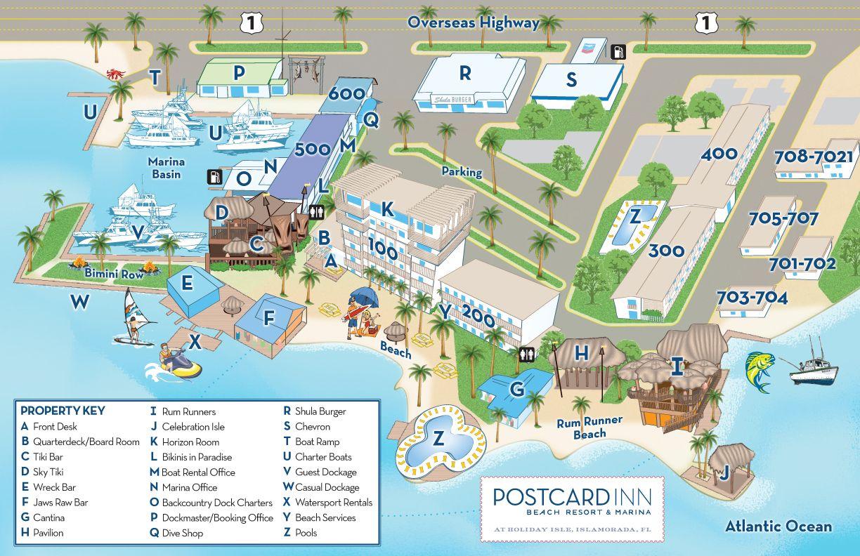 A Property Map Of The Postcard Inn Holiday Isle Resort & Marina That - Map Of Florida Keys Resorts