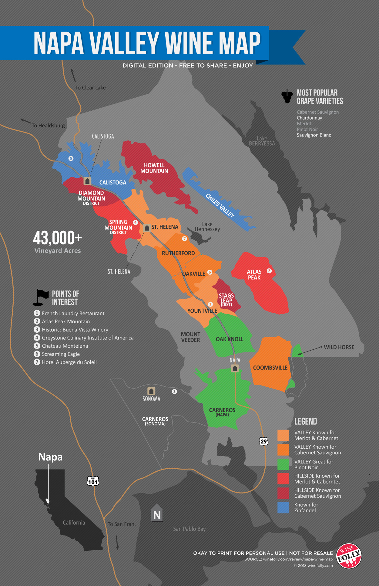 A Simple Guide To Napa Wine (Map) | Wine Folly - Printable Napa Winery Map