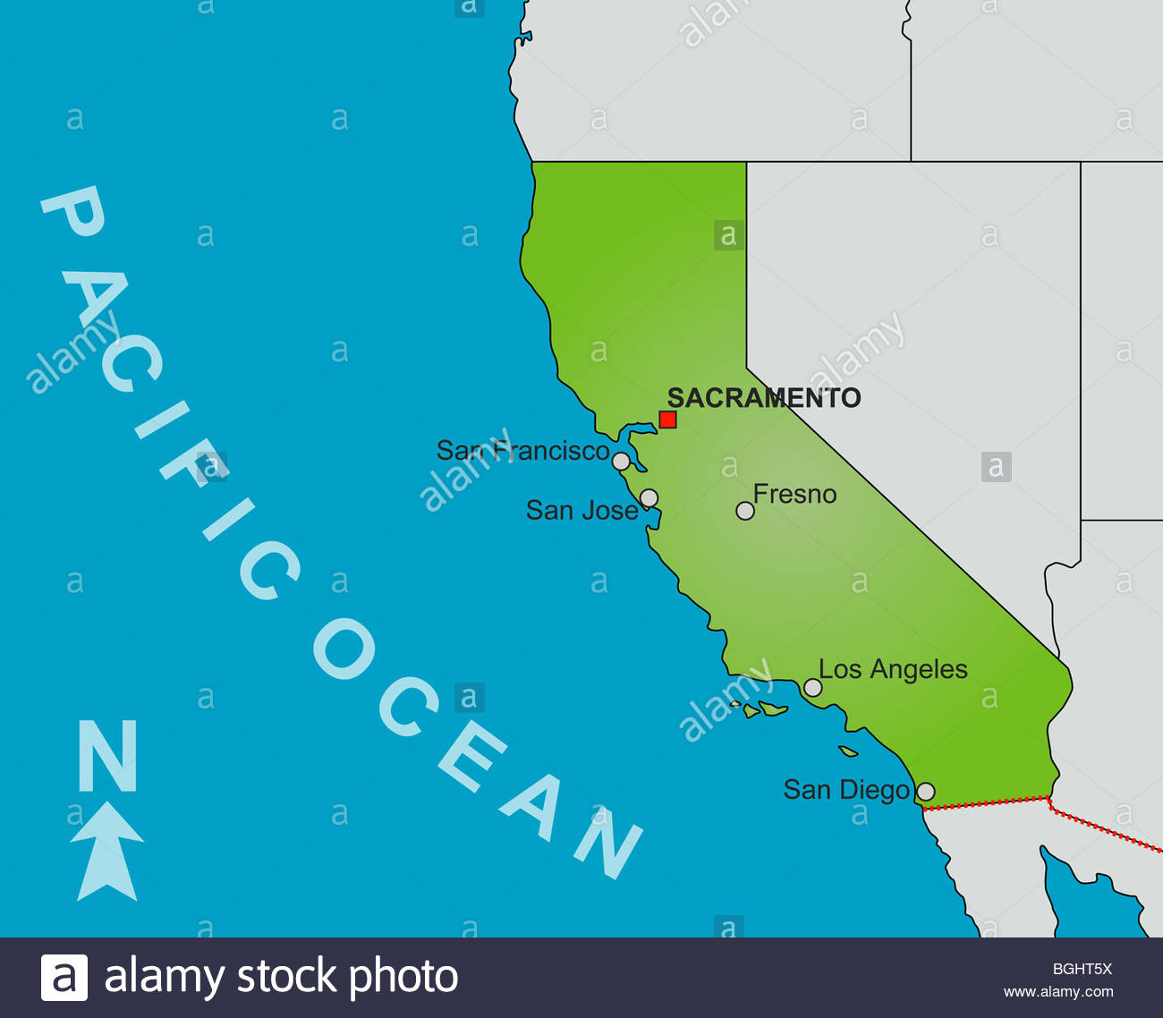 A Stylized Map Of The State Of California Showing Different Big - Big Map Of California