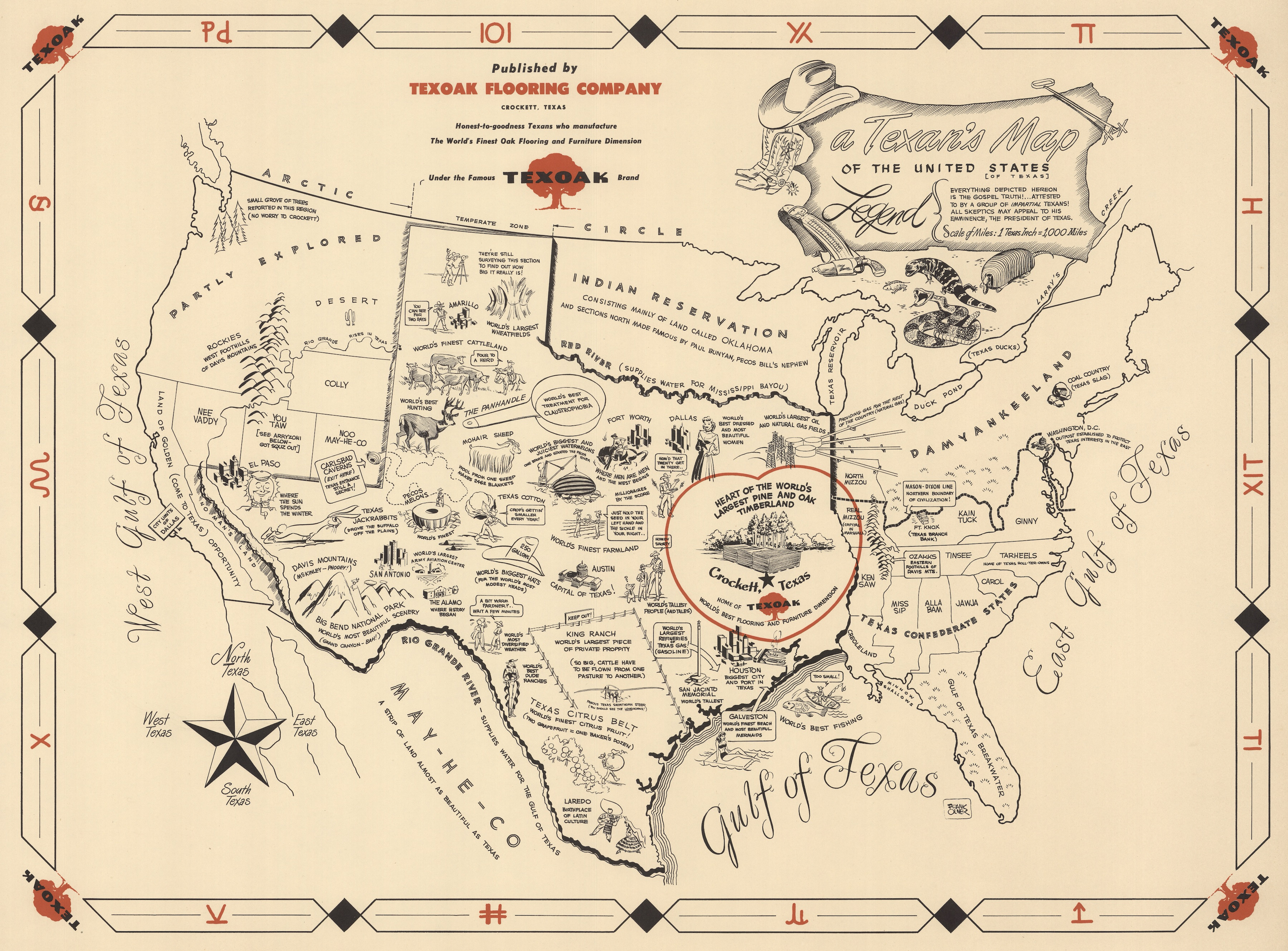 A Texan's Map To The United States (Of Texas) - Crockett Texas Map