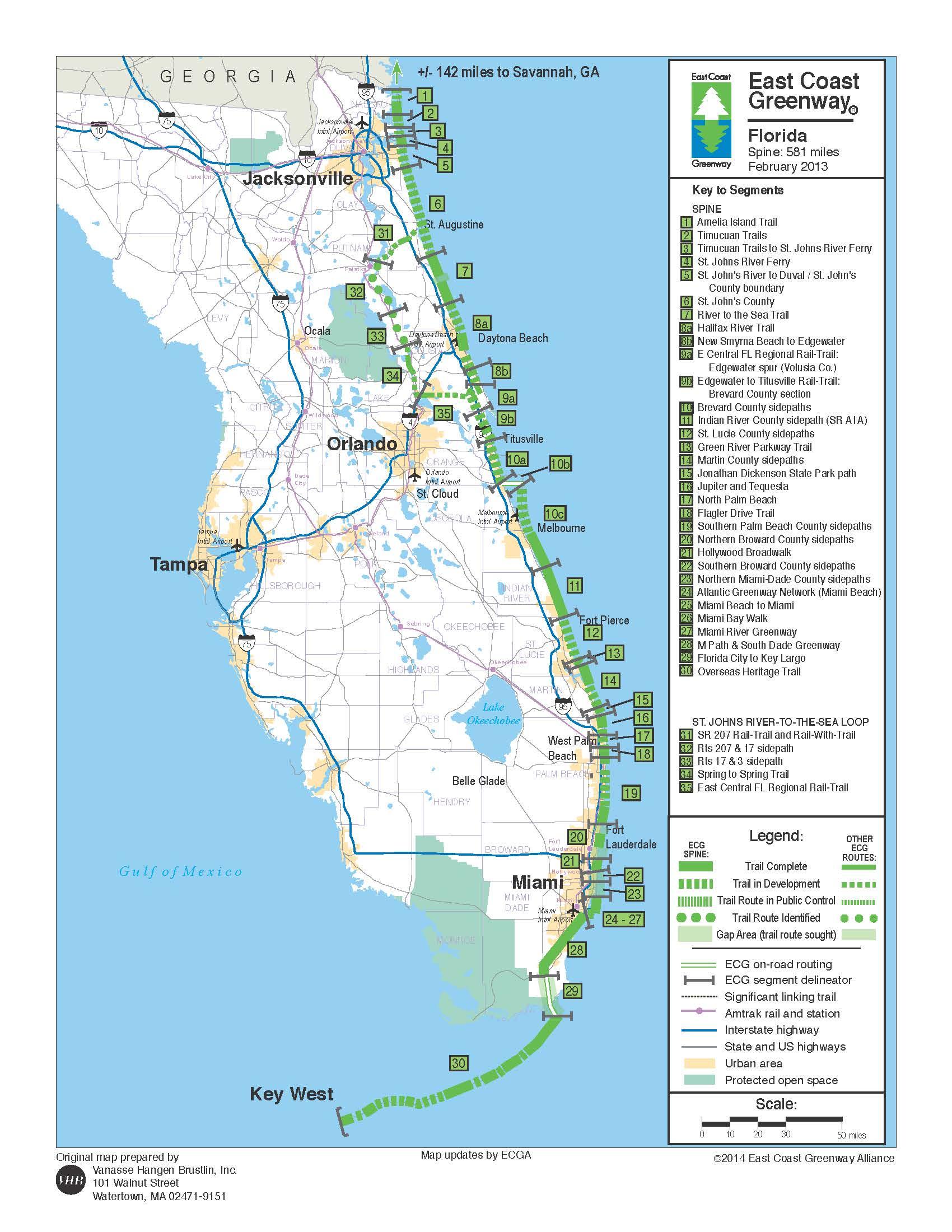 A1A Urban Trail – Space Coast Transportation Planning Organization - Florida Trail Association Maps