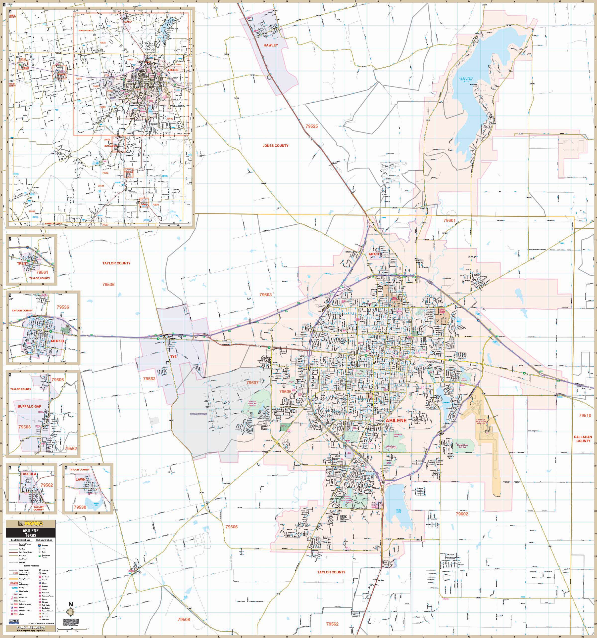 Abilene, Tx Wall Map – Kappa Map Group - Texas County Wall Map