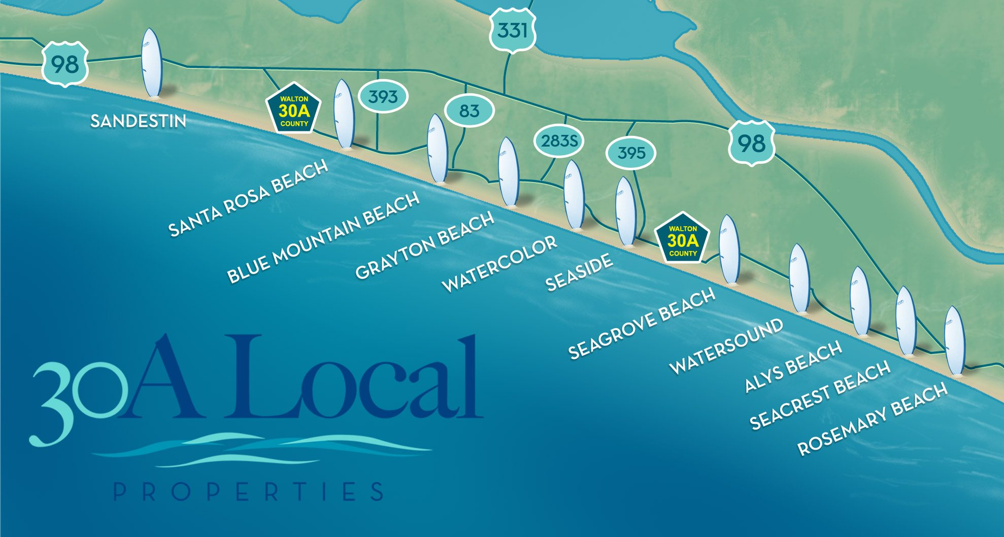 About The Communities Of 30-A Florida - Blue Mountain Beach Florida Map