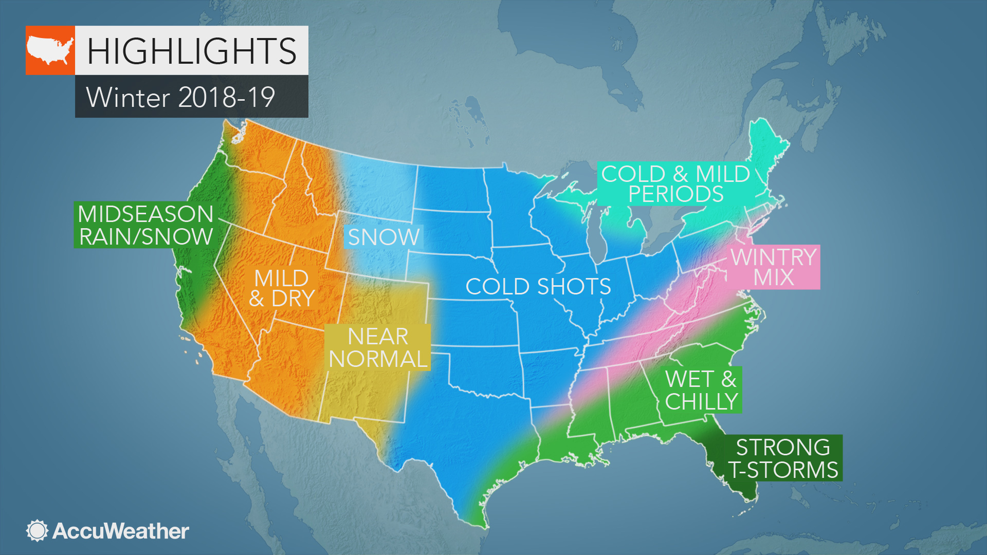 Accuweather's Us Winter Forecast For 2018-2019 Season - Florida Weather Forecast Map