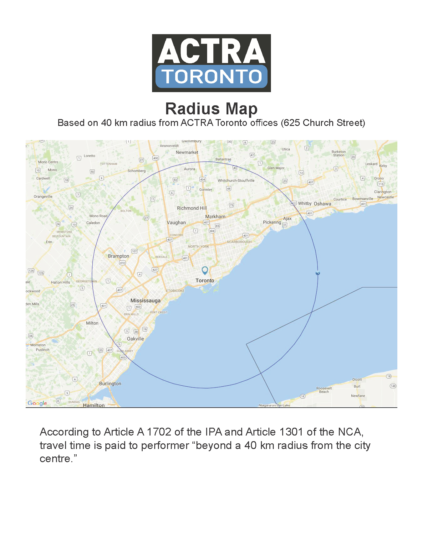 Actra Toronto Radius Map | Actra Toronto - Printable Radius Map