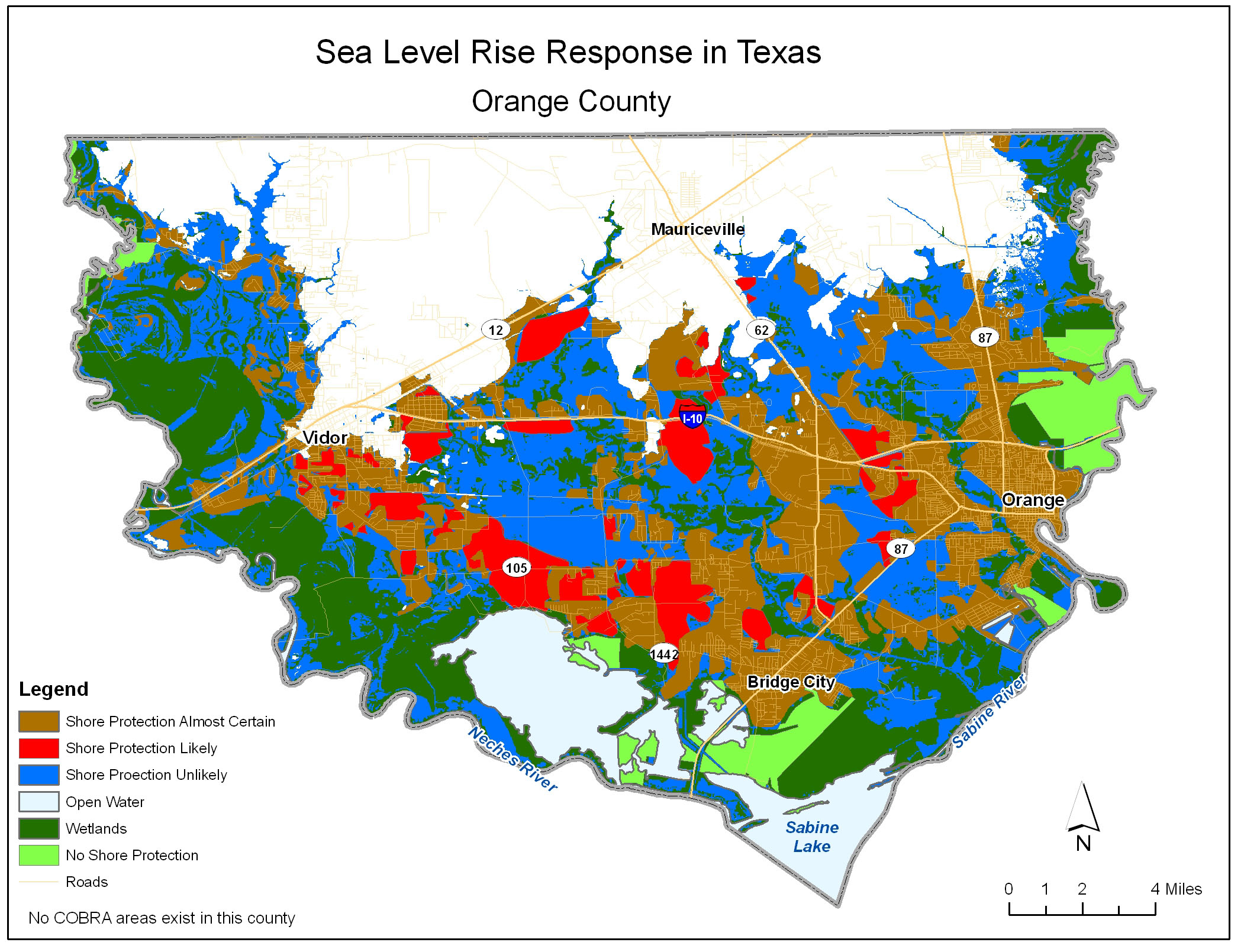 Adapting To Global Warming - Jefferson County Texas Elevation Map