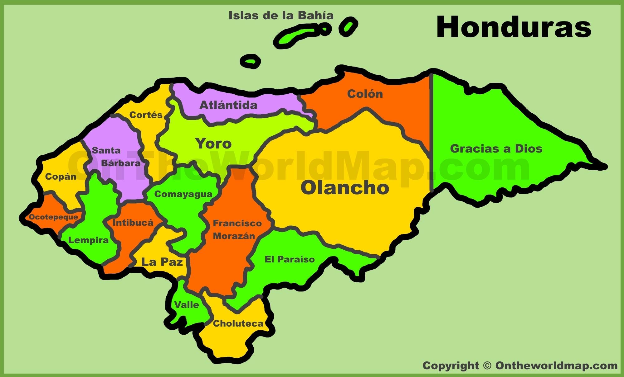 Administrative Map Of Honduras - Printable Map Of Honduras