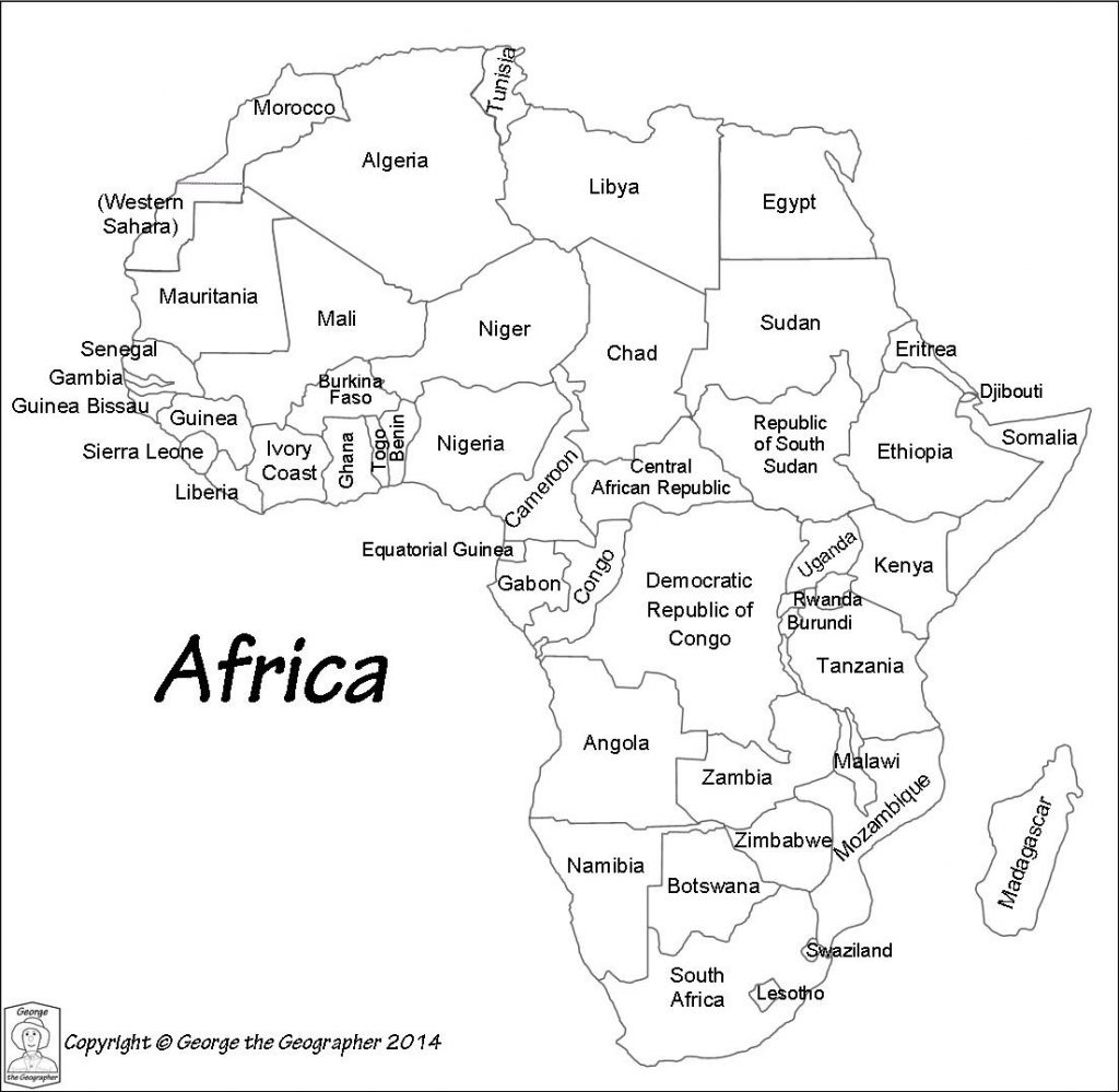 Africa Named B W Blank Map Of African Countries World Map With - Printable Map Of Africa With Countries Labeled