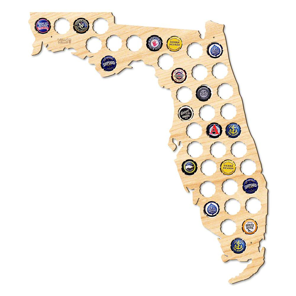 After 5 Workshop 19 In. X 17 In. Large Florida Beer Cap Map-4726 - Florida Beer Cap Map