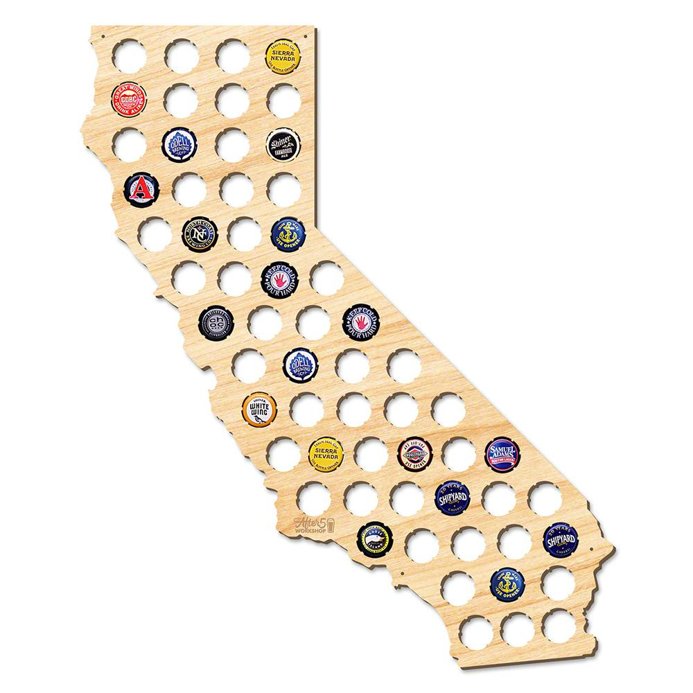 After 5 Workshop 21 In. X 18 In. Large California Beer Cap Map-4719 - California Beer Cap Map