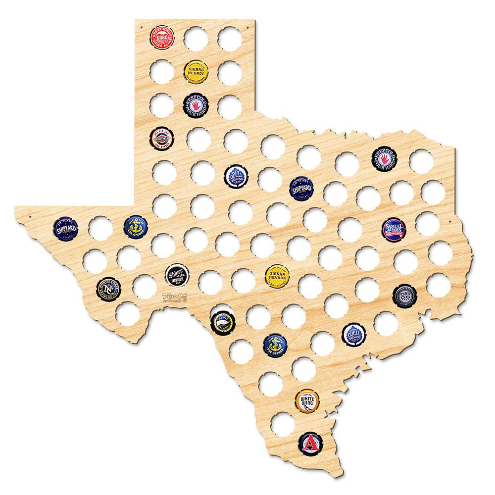 After 5 Workshop 21 In. X 20 In. Large Texas Beer Cap Map-4729 - The - Texas Beer Cap Map