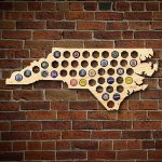 "After 5 Workshop 33 In. X 14 In. Extra Large ""north Carolina Beer   Florida Beer Cap Map"