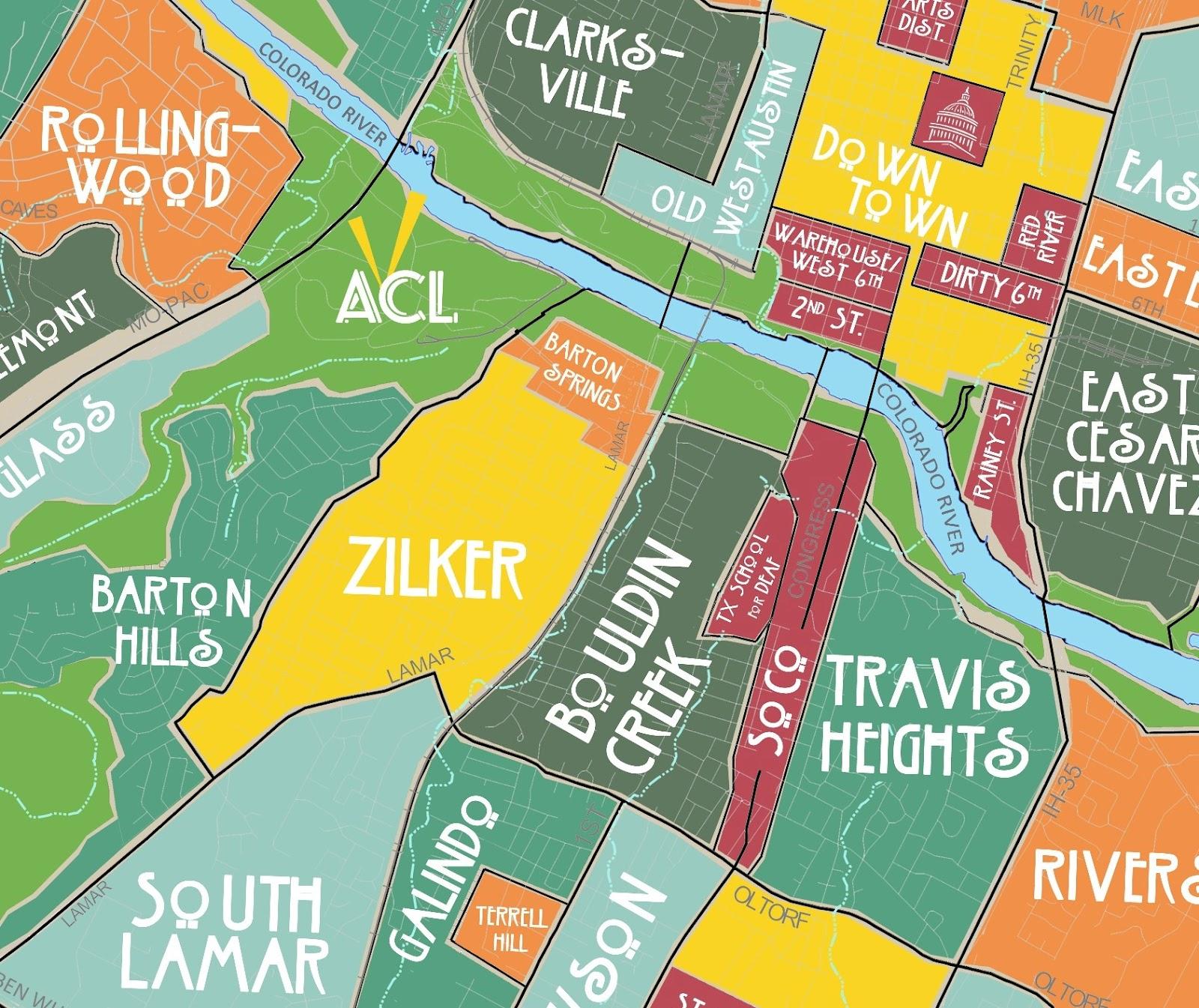Aggregated Maps Of Austin — Austin's Atlas - Street Map Of Austin Texas