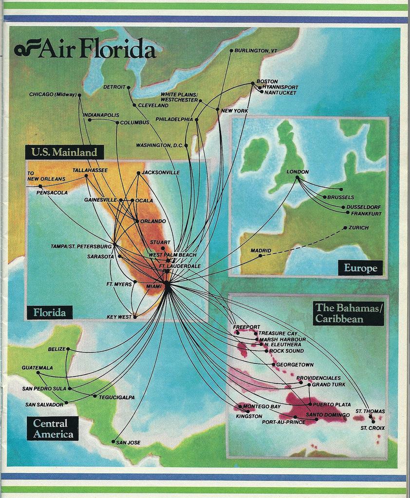 Air Florida Route Map, December 1983   Air Florida Route Map…   Flickr - Florida Destinations Map