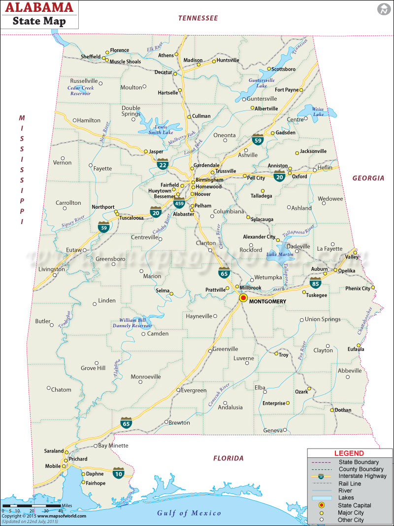 Alabama In Us Map And Travel Information | Download Free Alabama In - Us Map Of Alabama And Florida