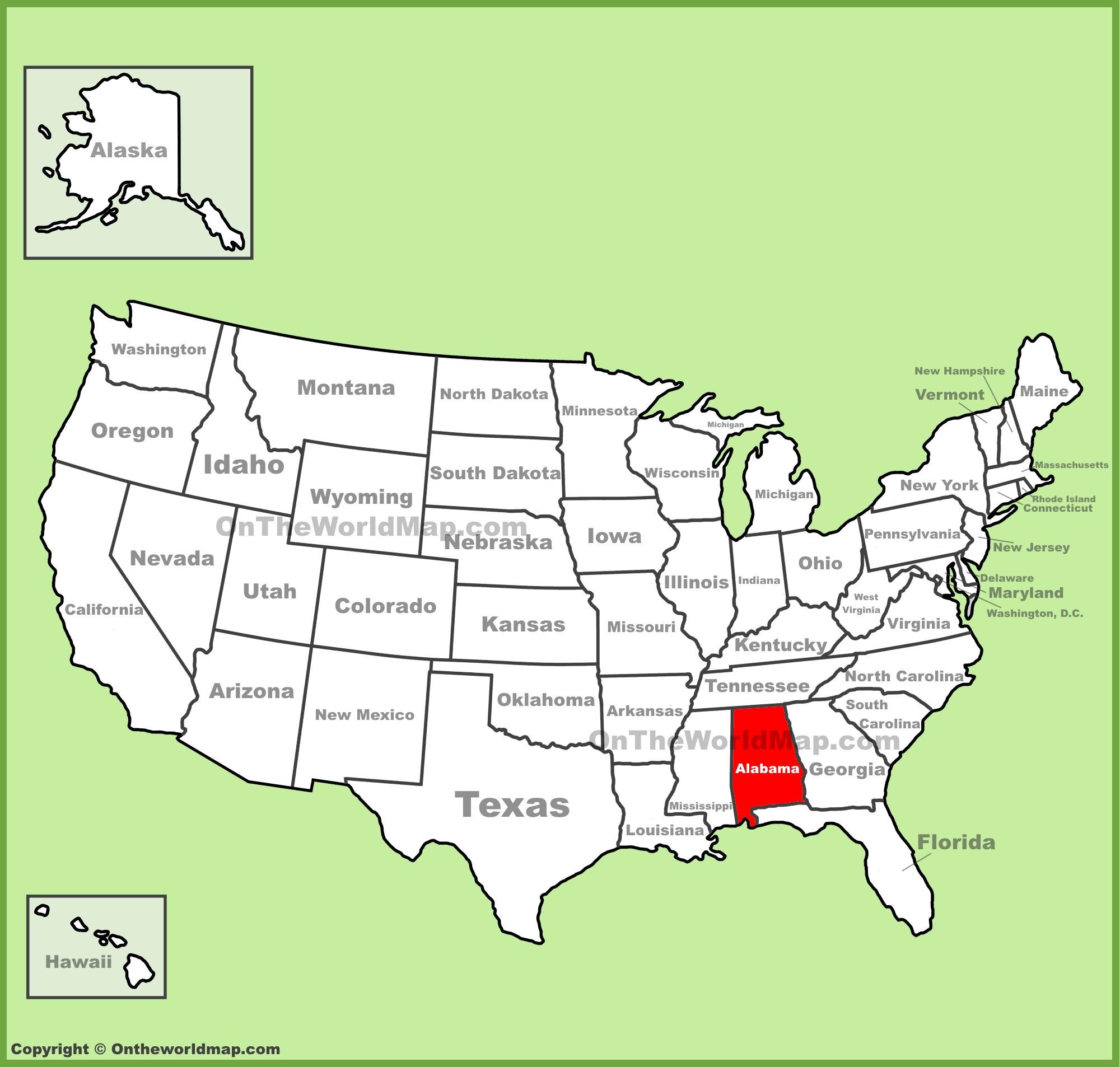 Alabama Location On The U.s. Map - Full Map Of California