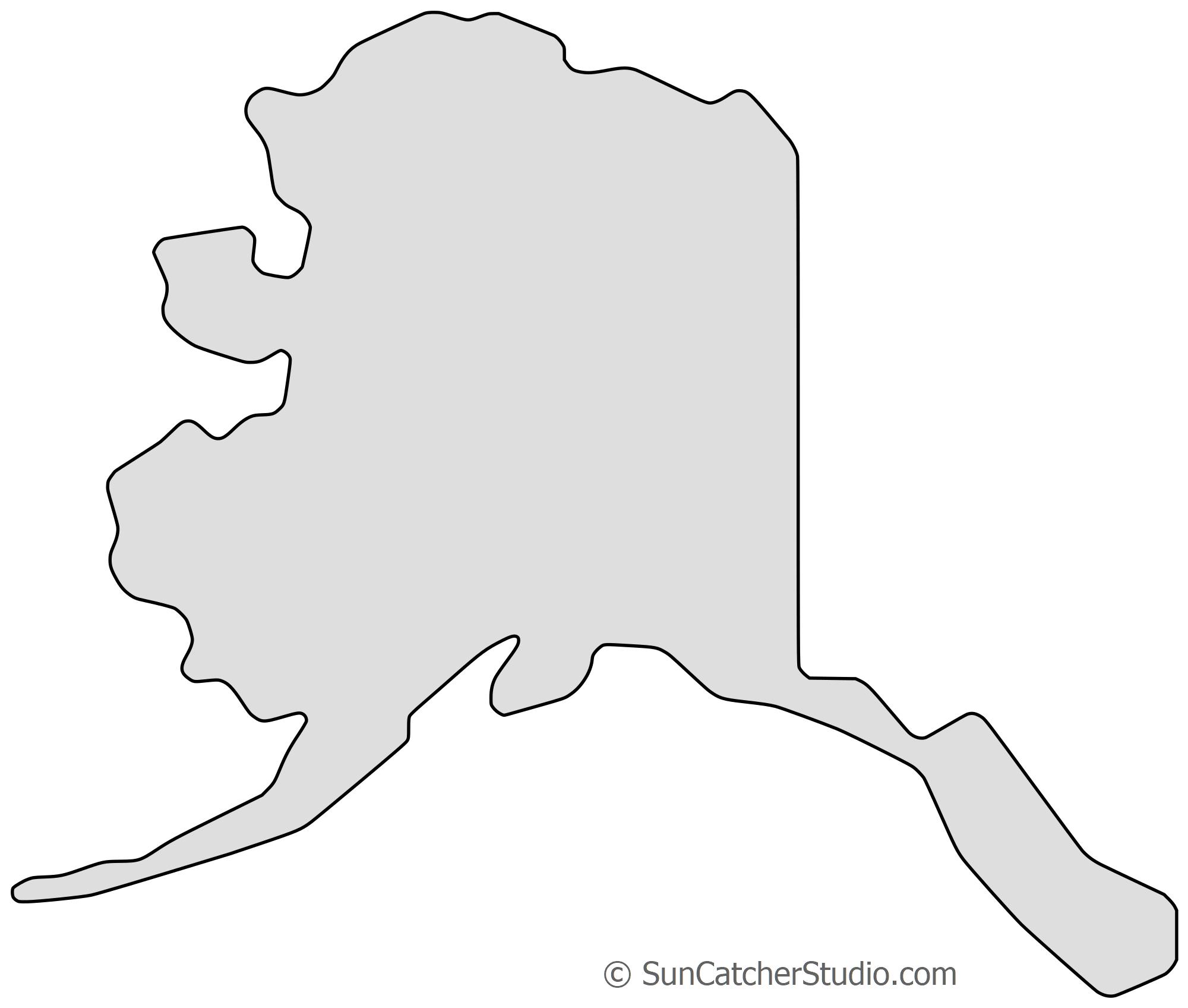 Alaska - Map Outline, Printable State, Shape, Stencil, Pattern - Free Printable Map Of Alaska