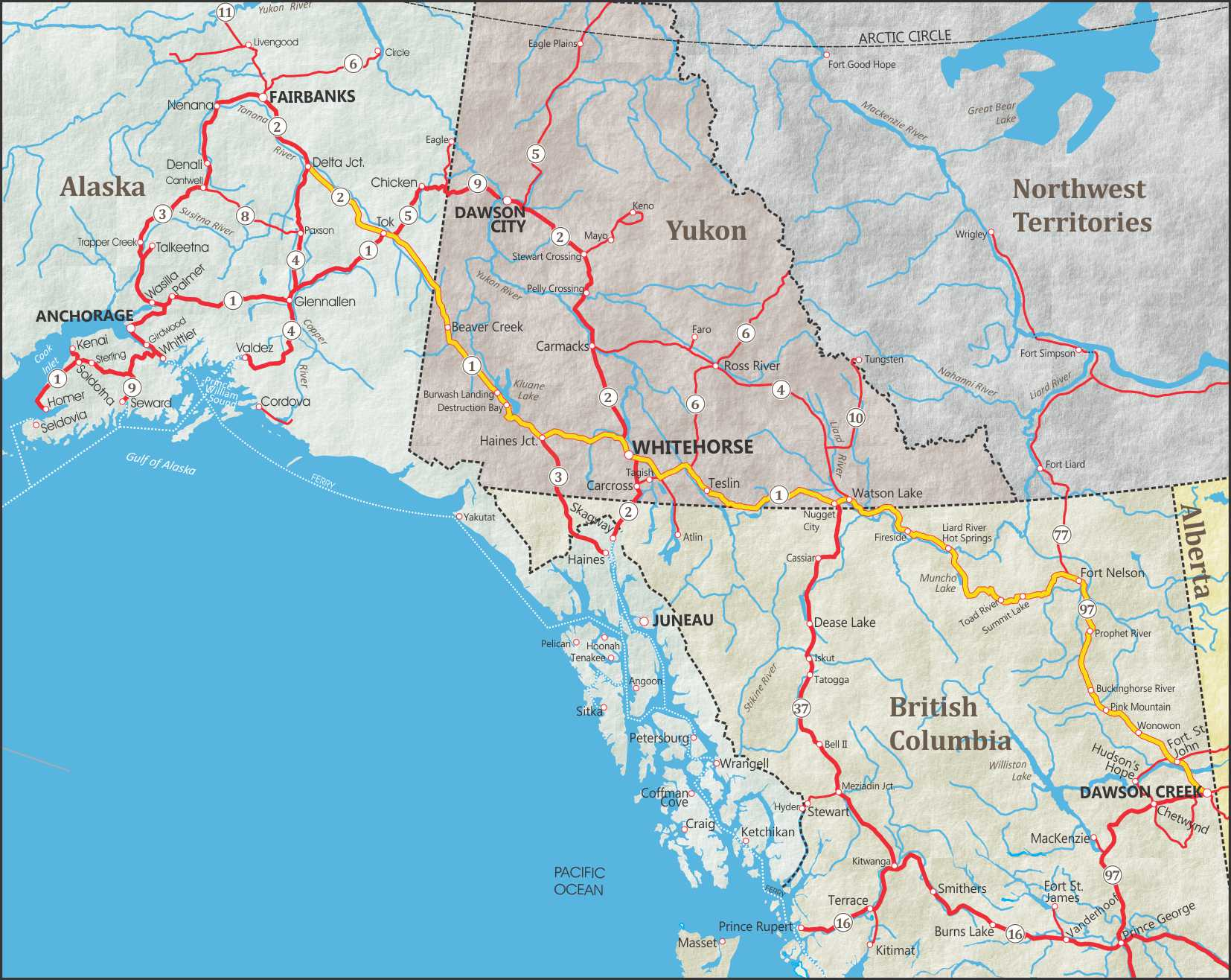 Alaska Maps Of Cities, Towns And Highways - Printable Road Map Of Canada
