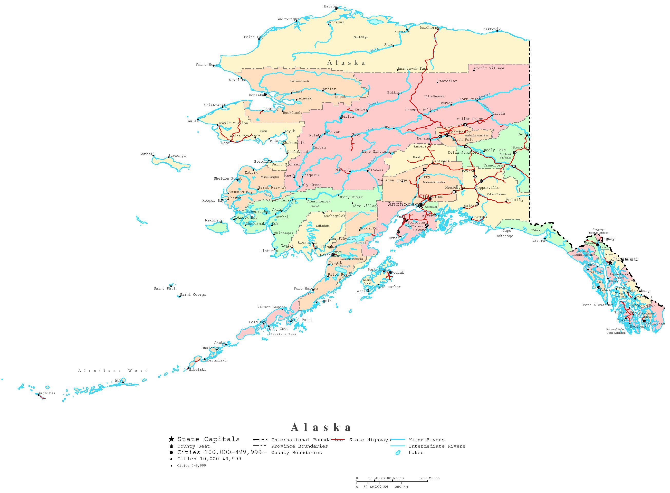 Alaska Printable Map - Printable Map Of Alaska