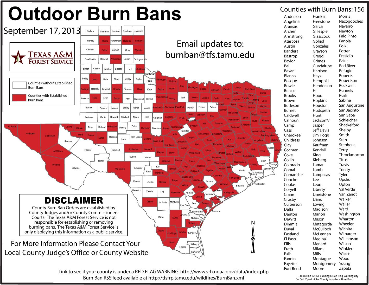 All Area Counties Now Under Burn Ban | 88.9 Ketr - Burn Ban Map Of Texas