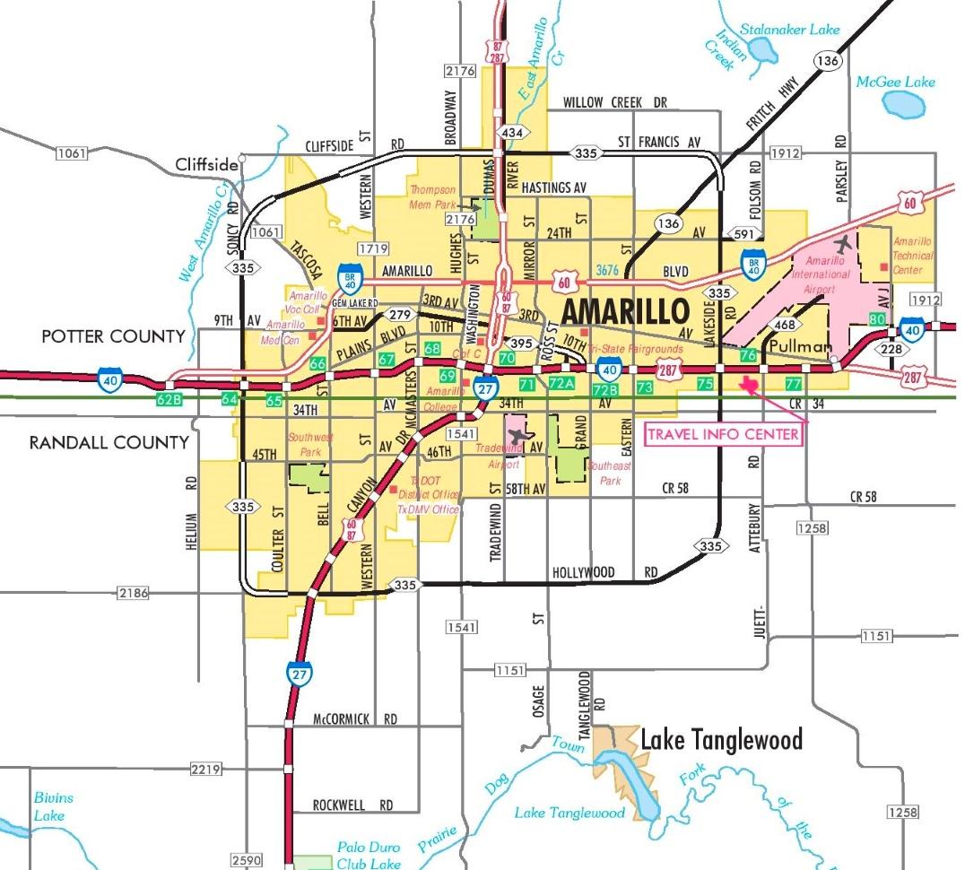 Amarillo Road Map - Printable Map Of Amarillo Tx