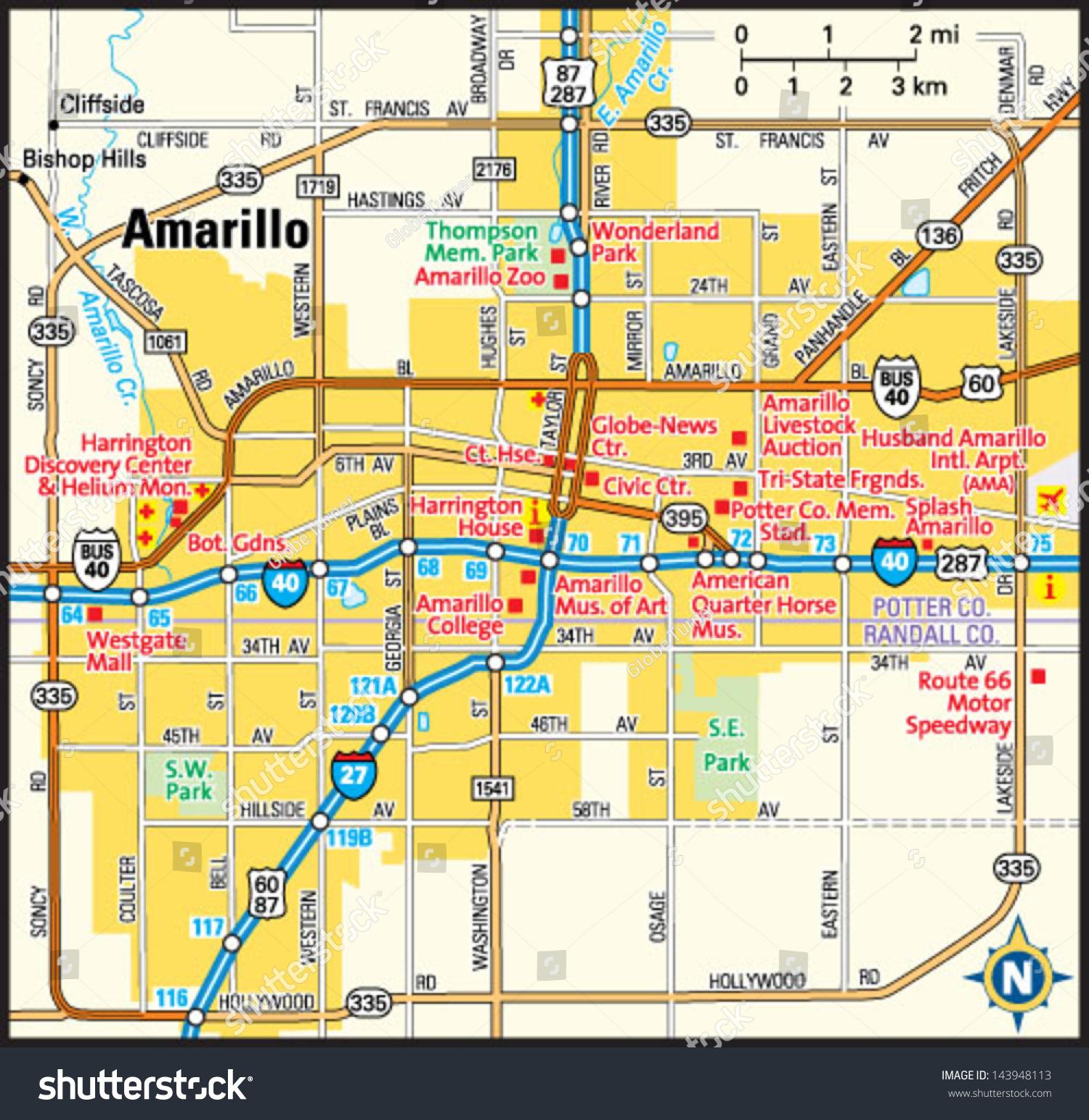 Amarillo Texas Area Map Image Vectorielle De Stock (Libre De Droits - Where Is Amarillo On The Texas Map