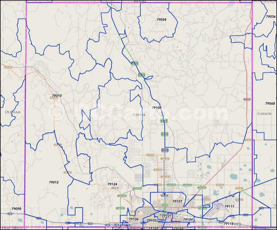 Amarillo, Texas Zip Codes - City Map Of Amarillo Texas