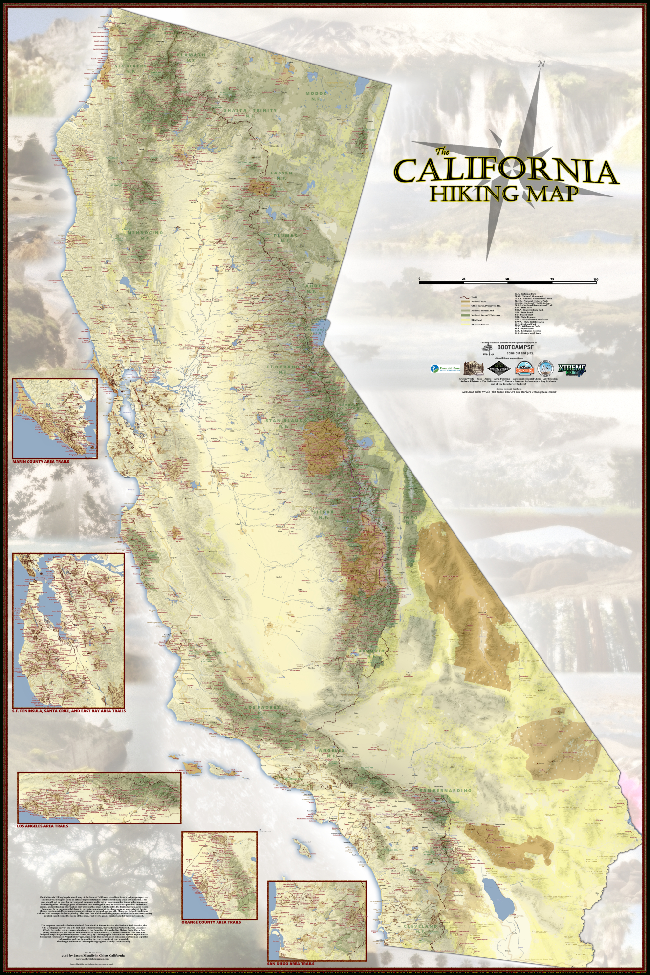 Amazing New Map Details Nearly Every Single Hiking Trail In - California Hiking Map