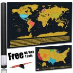 America Map Scratch Off Gold Map Scrape Off Earth Wall Poster   Texas Scratch Off Map