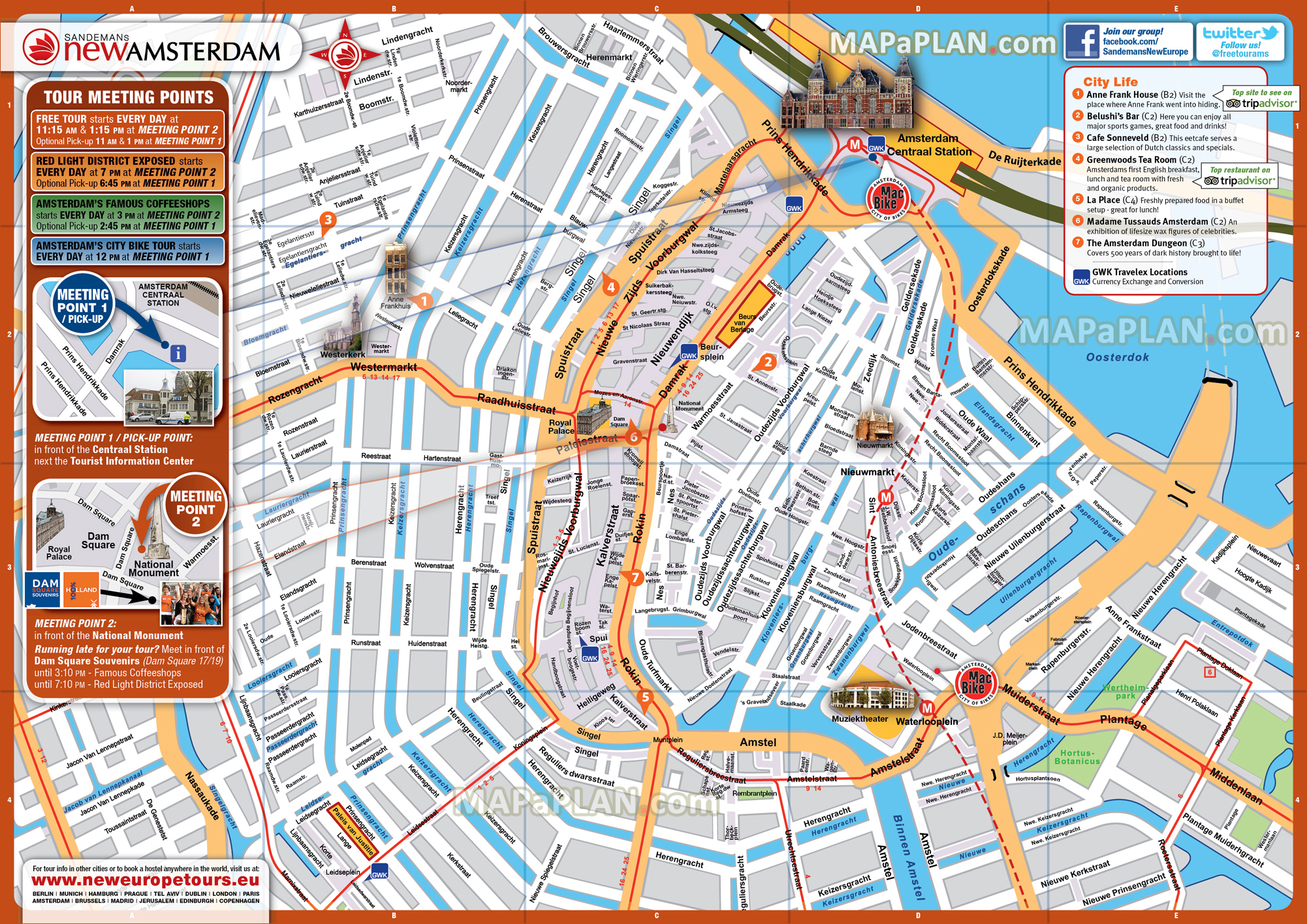 Amsterdam Maps - Top Tourist Attractions - Free, Printable City - Printable Walking Map Of New Orleans