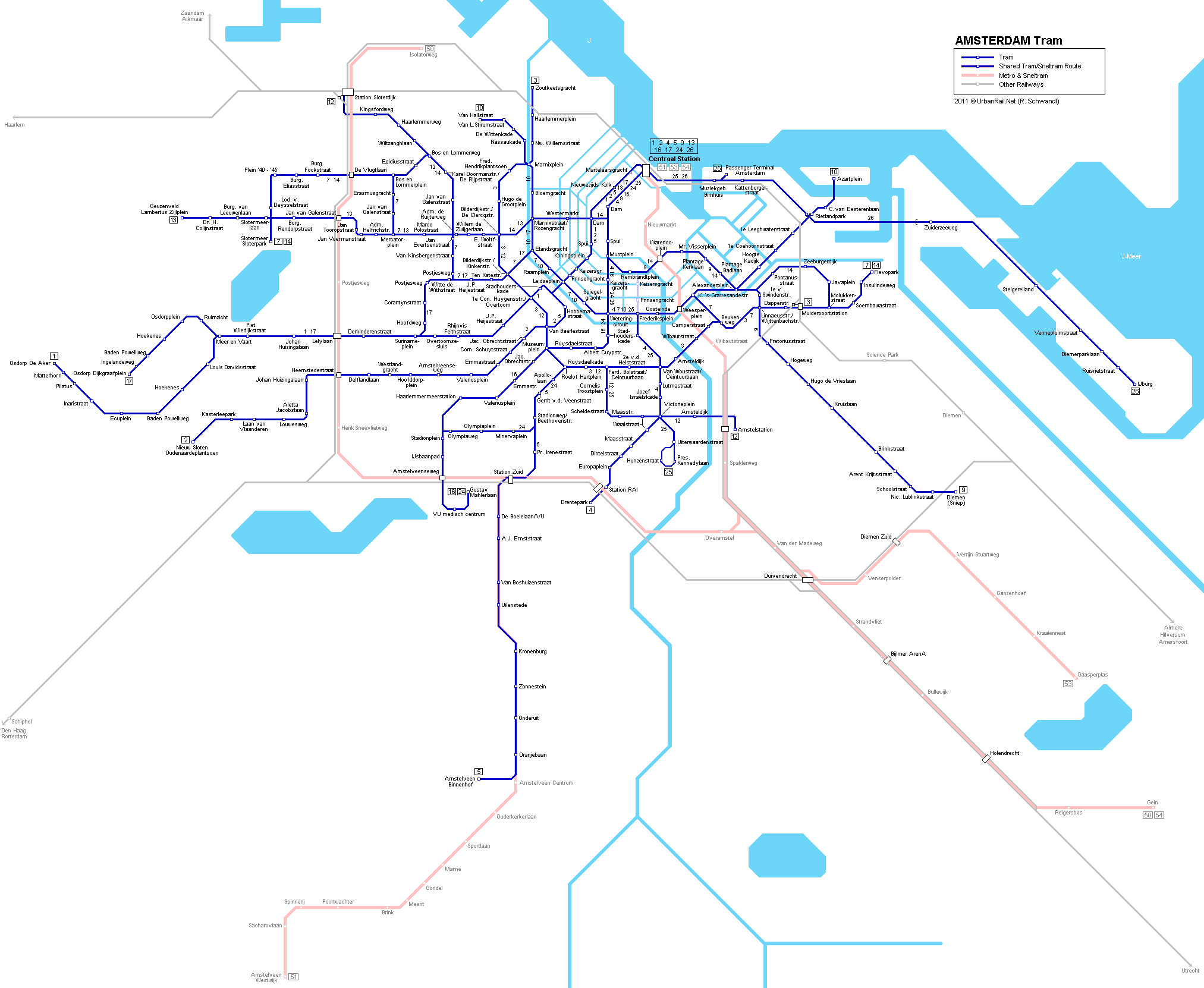 Amsterdam Tram Map For Free Download | Map Of Amsterdam Tramway Network - Amsterdam Tram Map Printable