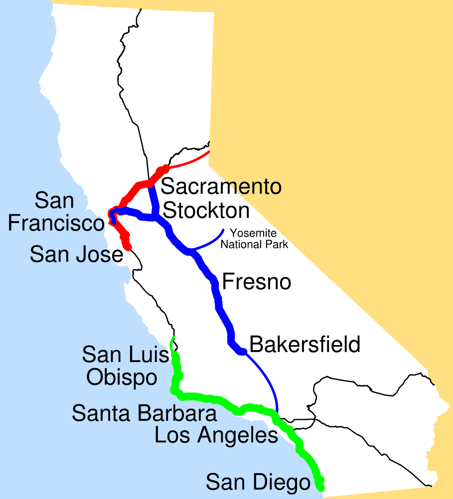Amtrak California Simplified Map • Mapsof - Amtrak Map California
