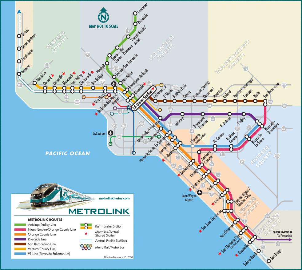 Amtrak California Station Map - Klipy - Southern California Train Map